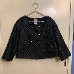 Yoana Baraschi Black Checked Crop Swing Jacket 6
